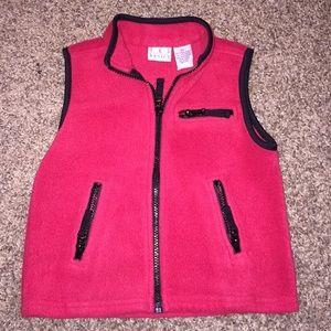 T.K.S Basics Red & black zipup fleece vest